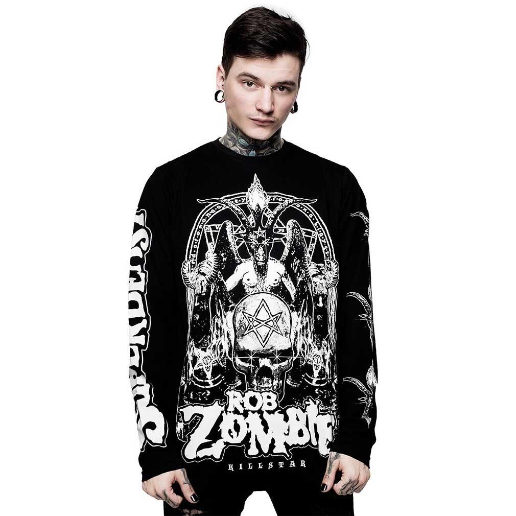 Killstar X Rob Zombie Gothic Okkult Langarm T-Shirt - Superbeast Baphomet Satan