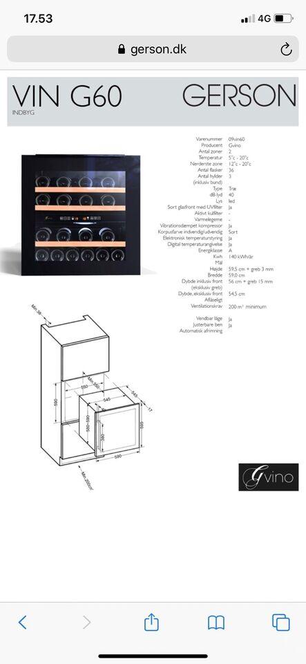 Vinkøleskab, andet mærke Gvino, 36 liter
