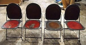 ... 1940 039 S ANTIQUE VINTAGE METAL FOLDING CHAIRS