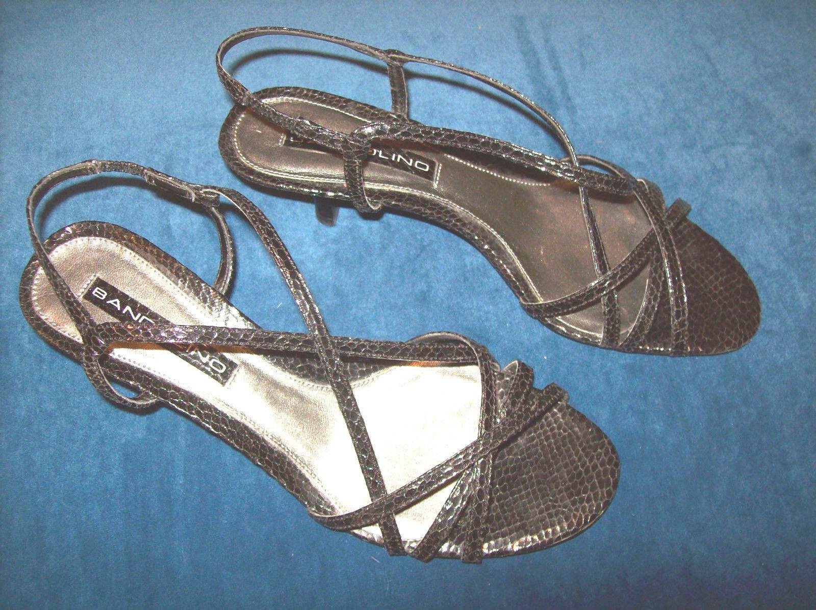 LADIES BANDOLINO BLACK SNAKESKIN DRESS SANDALS