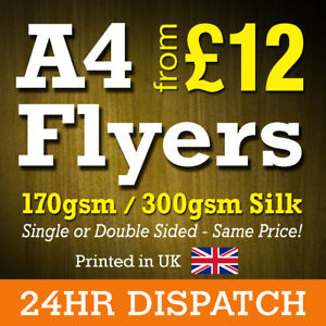 A4 Flyers Leaflets Printed Full Colour 170gsm 300gsm Silk - A4 Flyer Printing