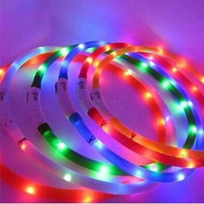 New Rechargeable USB Flashing Night Safety LED Dog Collar Adjustable All Pet E44