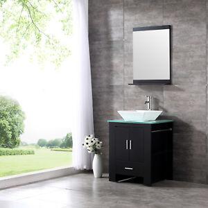 24 Wood Bathroom Sink Vanity Cabinet Ceramic Bowl Modern