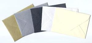 50   70mm x 100mm  LITTLE SHIMMER ENVELOPES  GOLD, SILVER, BLACK, WHITE OR CREAM