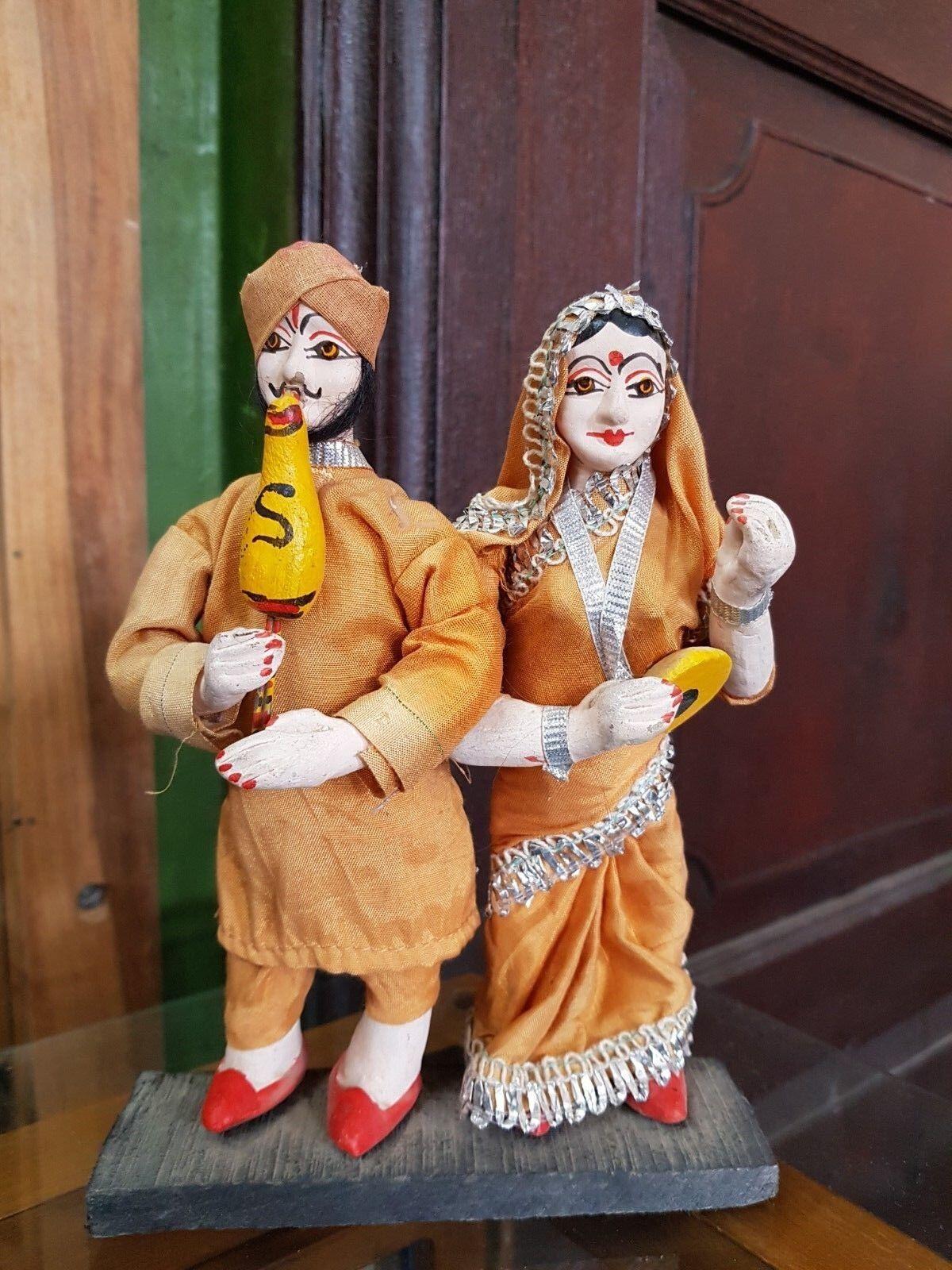 1940 Vintage Old Handmade Indian Traditional Wear Porcelain Snake Charmers Dolls