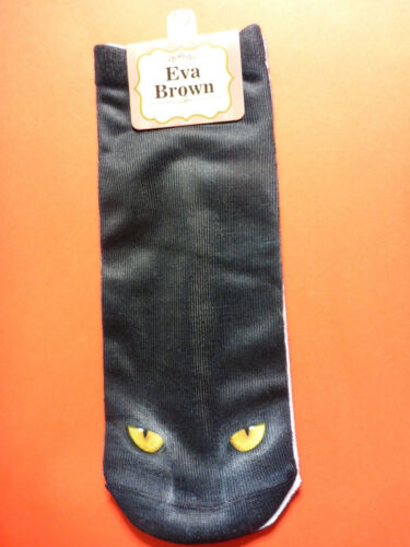 Ladies Girls Poly Cotton Ankle Socks 3D Photo Printed Black Cats Eyes Wicca Cute