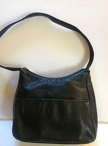 Image Is Loading Dockers Beautiful Black Genuine Soft Leather Handbag Clean