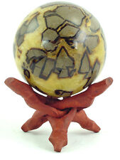 "BUTW Septarian Gemstone Dragon Stone 83mm/3.3"" Lapidary Carved Sphere 0748P"