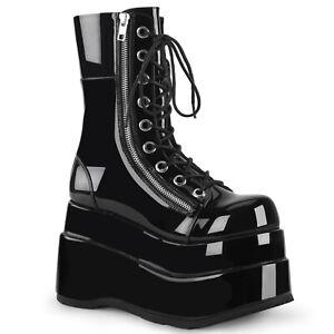 Demonia BEAR-265 Black Patent Tiered Platform Lace-Up Mid-Calf Boot