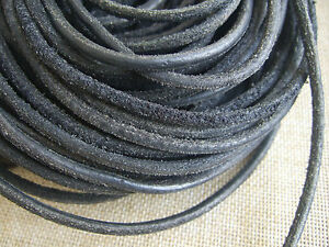 2m Real Leather Cord Black 2mm Round String Lace Thong Necklace Jewellery make