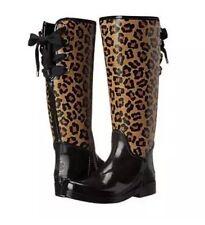 Coach Tristee Shiny Rubber Boots Sz 10 Black Ocelot Neutral Leopard NEW $168