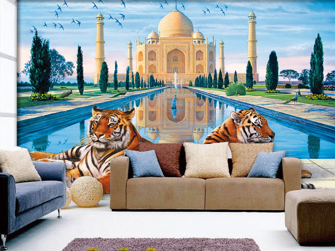 3D Taj Mahal Tigers 29 WallPaper Murals Wall Print Decal Wall Deco AJ WALLPAPER