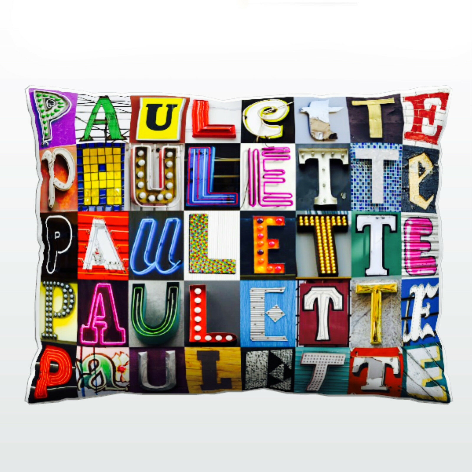 Personalized Pillow featuring the name PAULETTE in photos of sign letters