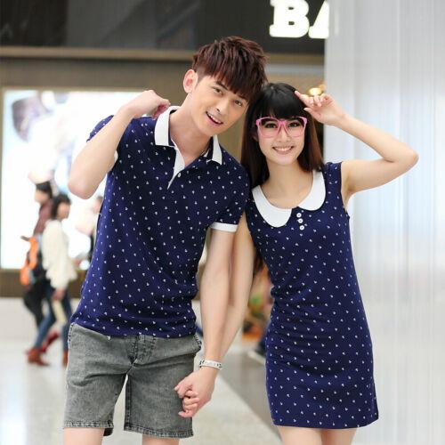 Women men tops summer clothes Lovers couple women dress men T-shirt