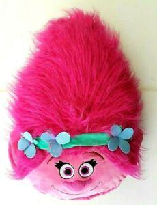 Dreamworks-Trolls-Pink-Princess-Poppy-Head-Shaped-Cushion-3D-Kids-Travel-Pillow