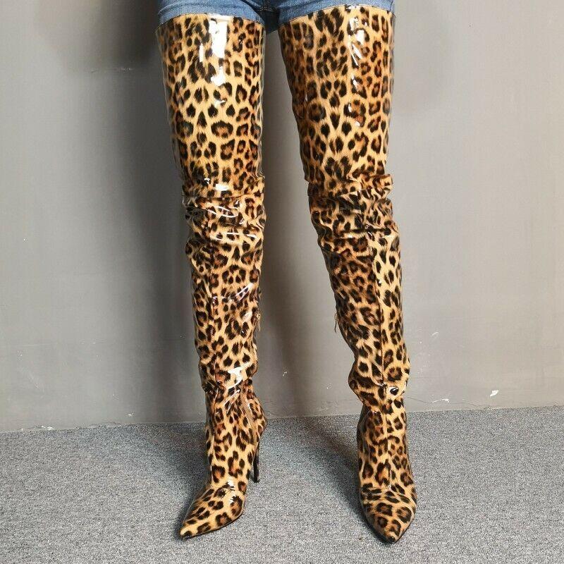 Damenschuhe Leopard Overkneestiefel Stiletto Spitz Reißverschluß High Heels Sexy