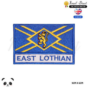 EAST-LOTHIAN-Scotland-County-Flag-With-Name-Embroidered-Iron-On-Sew-On-Patch