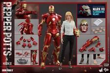"""鐵甲奇俠Hot Toys marvel Hottoys Iron man Ironman 3 MMS311 Pepper Potts & Mark 9 IX Set with Exclusive Bonus """"MARK VII ILLUMINATING HELMET"""" free ship"""