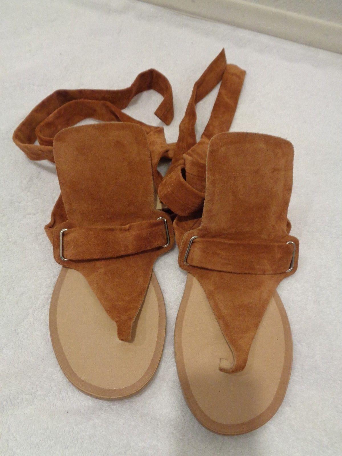 Rag & Bone Mara camel color Suede Thong Wrap Around Sandal SZ 5