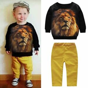 2PCS Toddler Infant Kid Baby Boy Girl Clothes Lion Hoodie Tops+Pants Outfits Set
