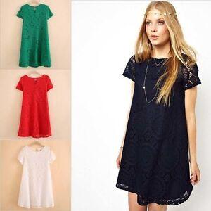 Details about Women Ladies Casual Short Sleeve Lace Dress Summer Sundresses  Plus Size