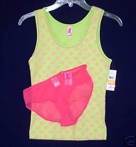 New-HUE-sz-SM-Sleep-Tank-Top-JENNI-Boyshort-Panties-Small-lime-hot-pink