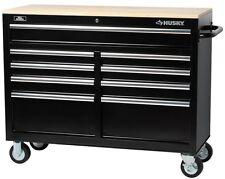 "Mobile Tool Chest Box Storage Cabinet 9 Drawer Toolbox Organizer 46"" Husky Black"