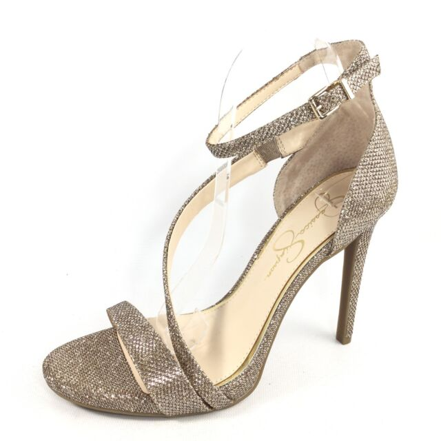 c810ecc786 Jessica Simpson Rayli Womens Size 9.5 M Gold Sparkle Heel Dress Ankle Strap  Shoe