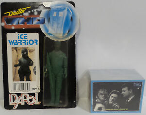 Doctor Who: Figurine d'action Dapol Ice Warrior Made In 1987 & Trading Cards (sctk)