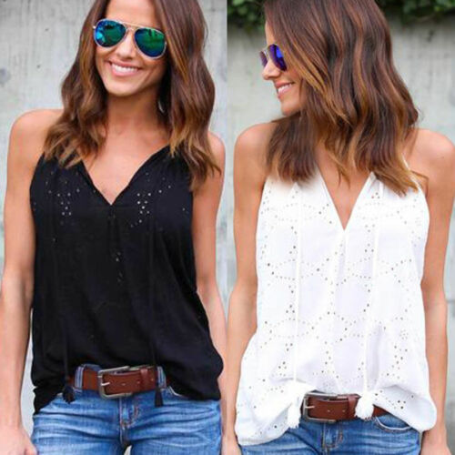Womens Cotton Sleeveless Blouse T Shirt Ladies Summer Loose Casual Vest Tank Top