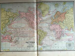 Antique-COLOR-MAP-of-The-World-circa-1893