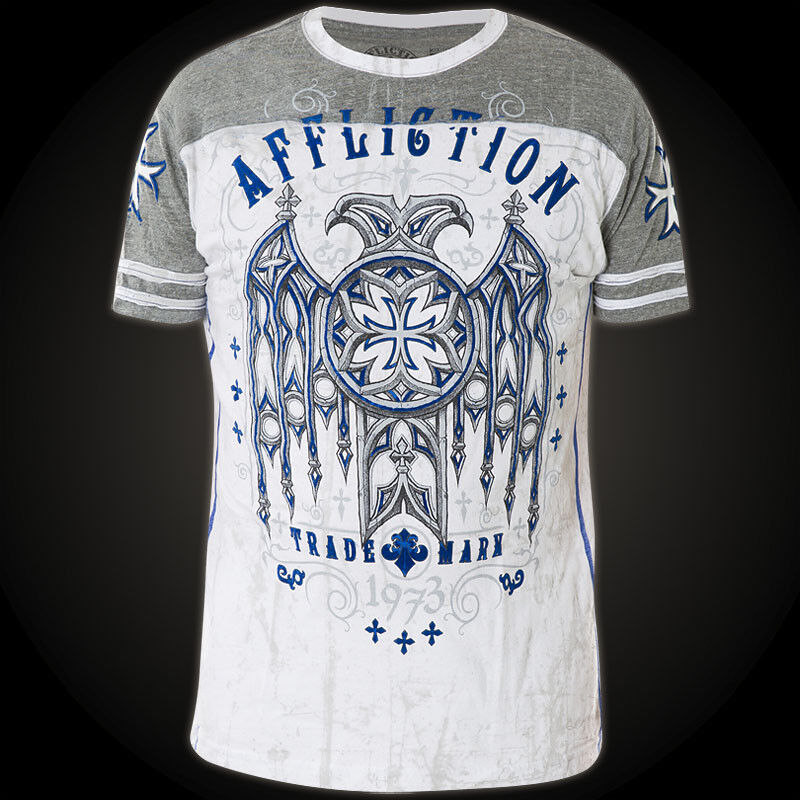 Affliction T-shirt Eagle Eagle Eagle dare Bianco Grigio T-shirts d32dff