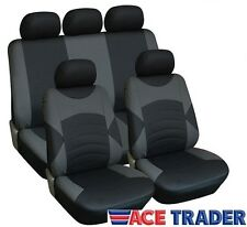 PEUGEOT 206 GTI (99-06) LUXURY BLACK & GREY LEATHER LOOK SEAT COVER SET