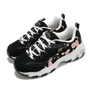 Skechers-D-Lites-Soft-Blossom-Black-Pink-Floral-White-Women-Casual-149239-BKPK