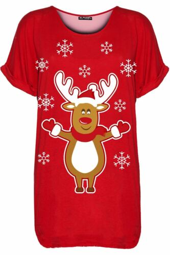 Womens Ladies Round Neck Reindeer Pudding Christmas Xmas Baggy Batwing T Shirt
