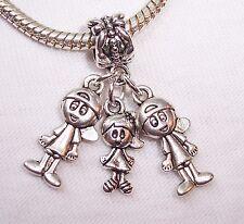 Triplets 2 Boys 1 Girl Babies Siblings Dangle Bead fits European Charm Bracelets
