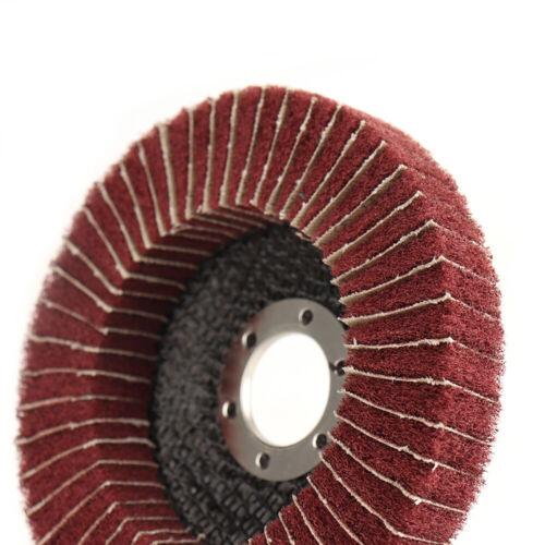 115mm Nylon Fiber Flap Wheel Abrasive Polishing Buffing Disc Metalwork Pad 2Pcs
