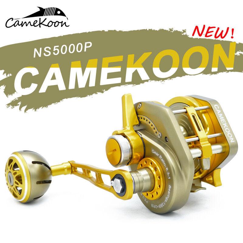 CAMEKOON Trolling Reel 6.3 1 Gear Ratio Smooth Saltwater Lever Drag Fishing Reel