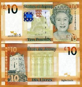 JERSEY 5 Pounds 2010 P-33 Queen Elizabeth QE II UNC Uncirculated