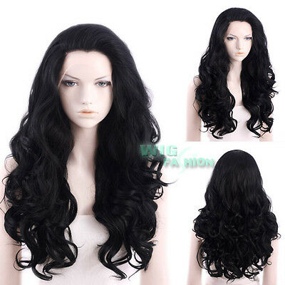 """24"""" Long Jet Black Curly Wavy Lace Front Synthetic Wig"""