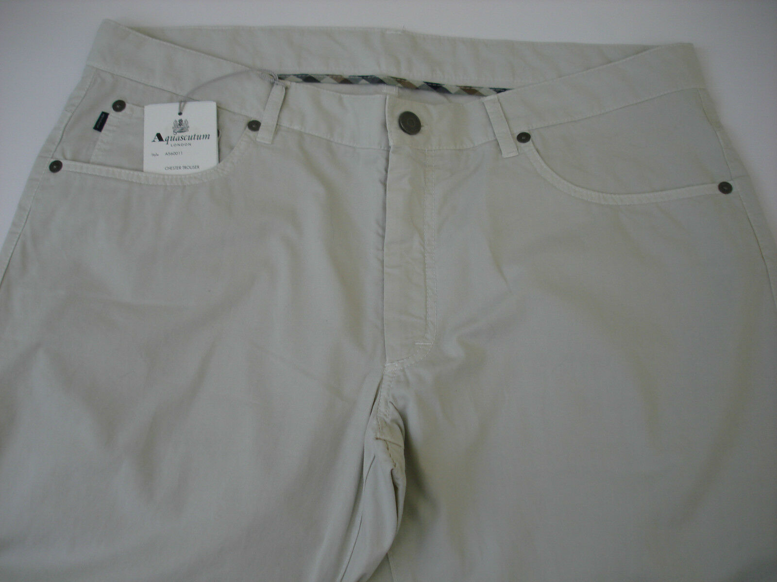AQUASCUTUM Beige CHESTER Jean Style Trousers sz 36 BNWT Slimfit ITALIAN Made