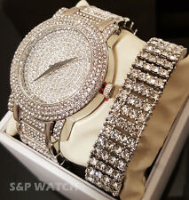 Men HipHop Iced Out Bling White Gold Simulated Diamond WATCH & BRACELET Gift Set