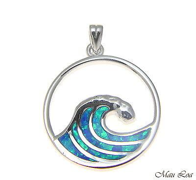925 Sterling Silver Rhodium Hawaiian Crab Blue Opal Clasp Enhancer Pendant Charm