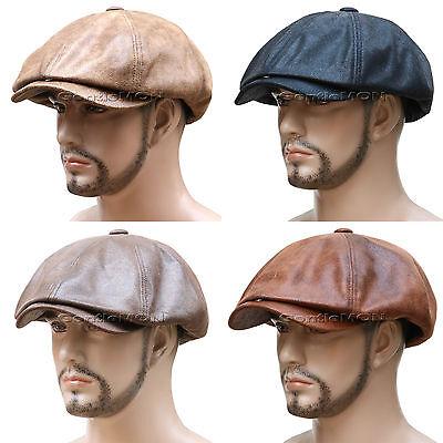 Faux Leather Gatsby 8 Panel Newsboy Cap Golf Driving Flat Cabbie Hat ~MU