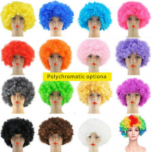 For Adult//Kids 13 Colors Costume Party Clown Disco Football Fans Afro Curly Wigs