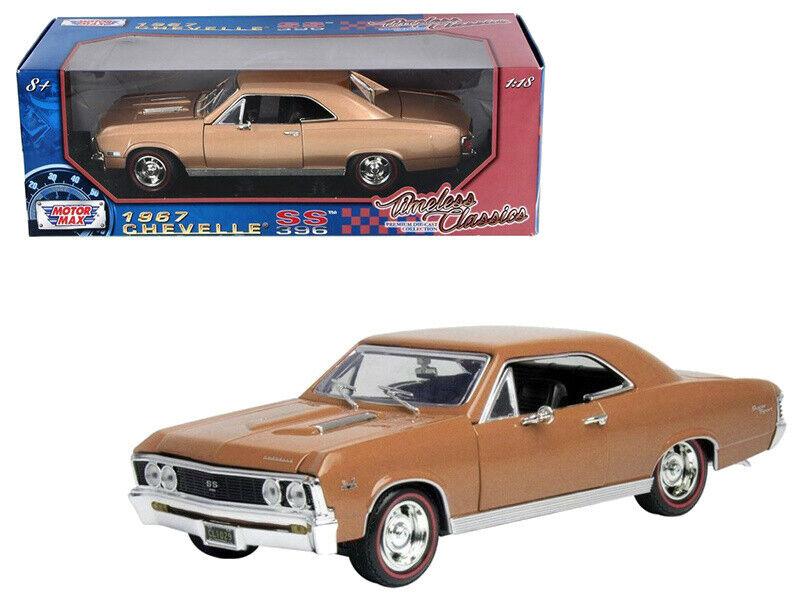 1 18 MotorMax 1967 Chevrolet Chevelle SS 396 Diecast Diecast Diecast Model Car gold Brown 73104 f0c735