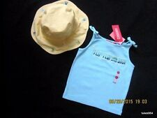 Gymboree Pool Party Flip Flop Tank Top Shirt 5 Bucket Hat 5-6-7 Blue Yellow NWT