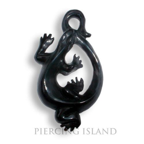 Remolque amuleto incl banda negro real cuerno maorí Gecko pb086