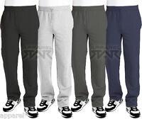Open Hem Jogging Bottoms Jog Fleece Pants Trousers Mens Black Grey Navy Zip 005