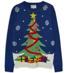 Xmas-Knitted-Jumper-Mens-Light-up-christmas-Tree-Top-Primark-Blue-BNWT-UK-S-XXL